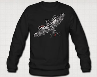 Deaths Head Moth Butterfly Wings Ethically Produced Sweatshirt Sweater For Men. Sizes M-XXL. Black Or Heather Grey.