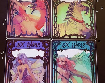 mythical bookplates /// illustration stickers