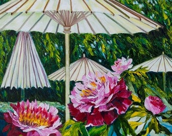 Oil Painting Japanese garden Umbrellas for Peonies Original Artwork Home Decor Wall Decor red green blue impasto floral 45x60cm