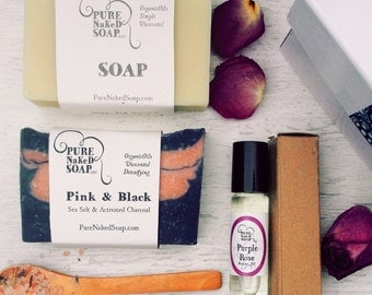 Organic Soap Spa Gift Box - handmade cold process soap gift - organic soap bar - natural bar soap - soap spa gift set - Valentine's Day gift