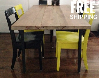 Reclaimed Wood Dining Table | Recycled Metal Legs | Industrial Decor | Free Shipping