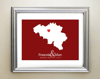 Belgium Custom Horizontal Heart Map Art - Personalized names, wedding gift, engagement, anniversary date