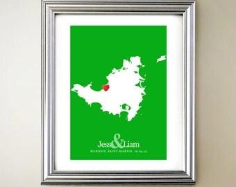Saint-Martin Custom Vertical Heart Map Art - Personalized names, wedding gift, engagement, anniversary date