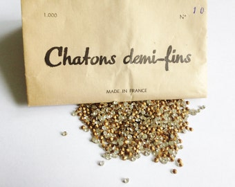Crystal Vintage rhinestones 'Chatons demi-fins' Pack of 1000  / Gold foiled pointed back chatons / Jewellery making / Crafts / France