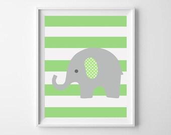 Elephant Nursery decor, green nursery Art Print, elephant bedding decor, Instant Download, stripes elephant Art