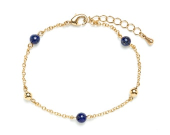 Fine gold bracelet with brass and lapis lazuli beads / Stacking bracelets / Gold and blue / 24 carats fine gold chain / New collection