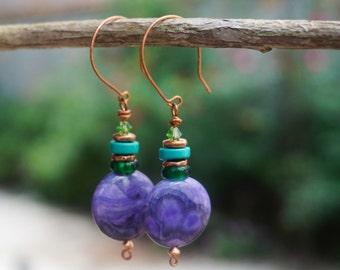 Crazy Lace Agate Earrings,Tribal Earrings,Gypsy Earrings,Copper Jewelry,Safari Earrings,Wirewrapped Earrings,Purple Earrings,Long Earrings