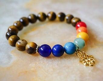 Mens Bracelet,Tiger Eye and Chakra Stones Bracelet,Mens Jewelry,Beaded Bracelet,Hamsa Hand Charm,Mens Gift,Brown Bracelet,Chakra Jewelry
