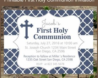 Navy Blue First Holy Communion / Printable Invitation Boy First Communion /Personalized  Holy Communion / Invitacion Primera Comunion niño
