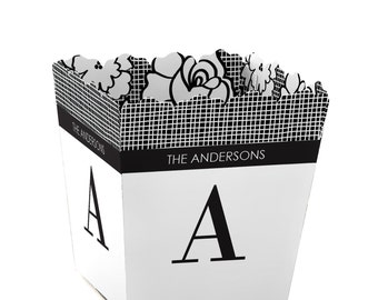 Floral Monogram - Small Personalized Party Candy Boxes - Personalized for Wedding Party Supplies - Set of 12