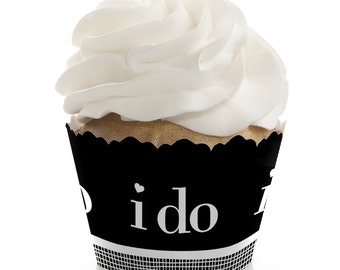 I Do - Party Cupcake Wrappers - Wedding Party Cupcake Decorations - Set of 12