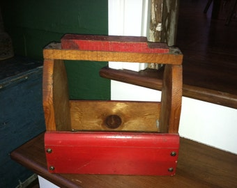 Wonderful early antique primitive wood shoe shine box. All original paint and great patina! One of a kind!