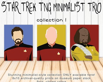 Star Trek TNG Minimalist Art Trio - Captain Picard, Riker, Worf