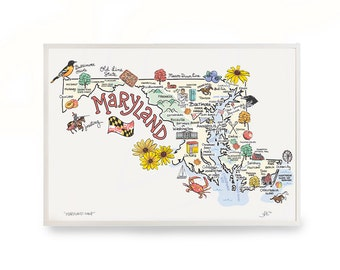 """Maryland Art, 9""""x12"""" Maryland Map, Maryland Print, Unframed, Print Signed by Artist, Printed on watercolor paper"""