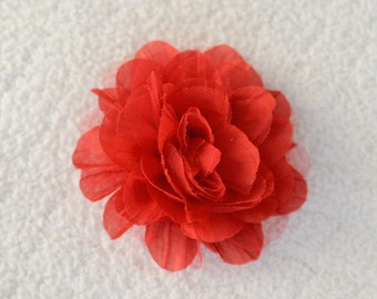 """5"""" Crinkle Flower Heads, Wholesale Hair Flowers for Baby Headbands, Lot of 1, 2, 5 or 10, Red"""