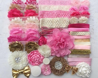 Pink and Gold Headband Kit, Baby Shower Headband Station, DIY Headband kit, Baby Girl Headbands, Headband Kit Baby Shower