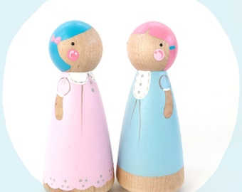 "Cotton Candy peg doll friends // 3 1/2"" peg doll set // 2 pastel wooden dolls"