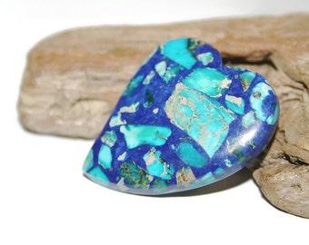 Dual Colored Sea Sediment Jasper Pendant Bead, Dark Blue and Light Blue Gemstone Heart, Blue Jasper Stone Pendant, Jewelry Supplies