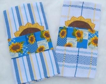 Sunflower Appliqued Tea Towels