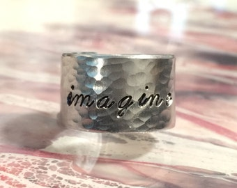 Imagine Hand Stamped Adjustable Cuff Ring