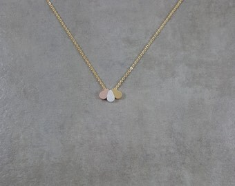 3 Teardrops [GOLD] Necklace in Gift Box Tear Drops Rose Gold Silver Three Dainty Droplets Dots