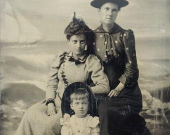 Seaside Trio // Antique photo of girl, women on beach, sand, sailboat tintype, shovel & pail photo, nautical tintype, boat tintype
