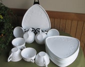 Vintage Milk Glass Snack Set with Cups Set of Eight (8) Anchor Hocking Orange Blossom and Snowflakes Serving Plates White Luncheon Ware