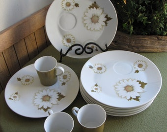 Vintage Marshall Fields Snack Plates A Set of Eight (8) and Three (3) Cups Made for Marshall Fields Store Chicago IL