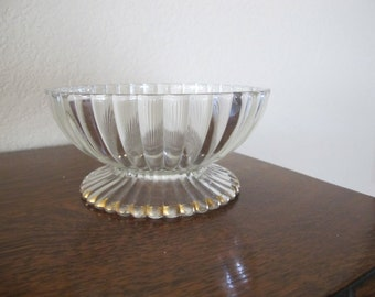 Vintage bowl with gold highlighted stand, pedestal-free shipping