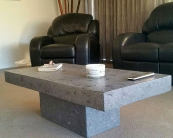 Concrete coffee table, exposed polished stone, charcoal table, 1200mm wide. Industrial look.