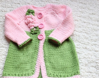 green and pink knitted 2T sweater,2T little girl gift