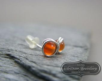 Sterling silver gemstone stud earrings ~ Orange stud earrings ~ Gemstone studs ~ Stud earrings ~ Post earrings ~ Gift for sister~ Orange