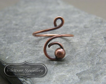 Adjustable simple copper ring ~ Wire wrapped ~ Antique copper ~ Unique gift for friend ~ Copper jewelry ~Handmade ring ~ Antique copper ring