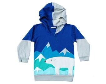 Polar Hoodie Sweatshirt - Royal Blue & Light Gray