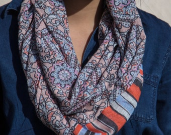 Blush, Pink, Orange, Blue, and Black Victorian and Striped Infinity Scarf (Cowl)