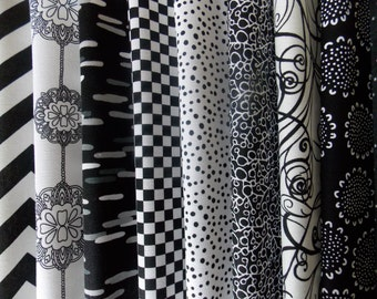 "Black and White Fabric 40 Piece 2.5"" Strip Jelly Roll Quilt Fabric 100% Cotton"