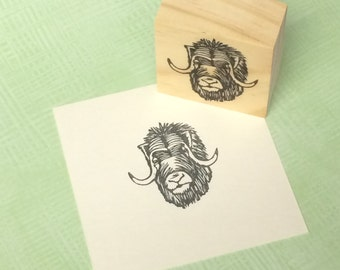 Hand carved rubber stamp - musk ox (muskox) design.