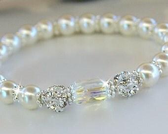 Square Swarovski Crystal and Pearl Bracelet