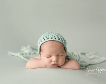 Baby hand knitted bonnet in mint/ unique and cute hat for newborn/ knit lacy hat/ photo prop
