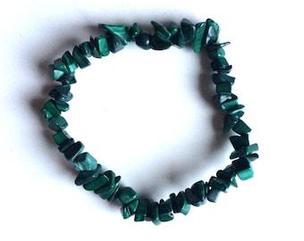 Malachite green Gemstone crystal chip bracelets