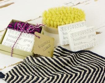 soap & washcloth set // goat's milk soap // striped washcloth