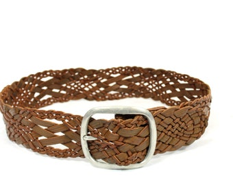 Vintage Leather belt Brown Braided Woven Boho Gypsy