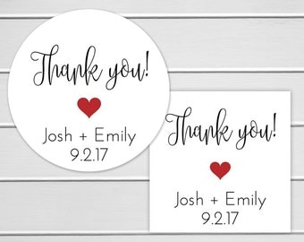 Wedding Thank you Stickers, Personalized Wedding Stickers, Thank You Labels, Envelope Seals  (#196)
