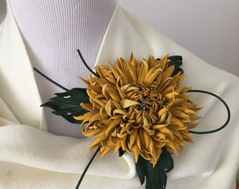 Yellow Chrysanthemum Flower Leather Brooch.