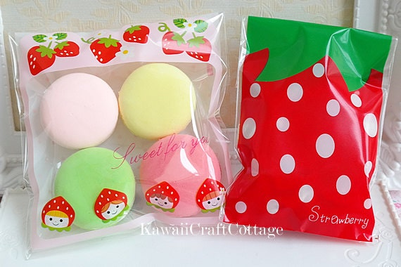 50 Kawaii Strawberry Gift Bags Packaging Gift Wrapping Cello Bags ...