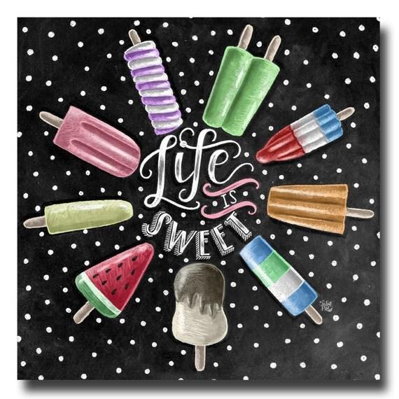 Blackboard Artwork Ideas: Life Is Sweet Popsicle Print Chalkboard Art Summer Kitchen