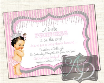 A little Princess Baby Shower Card DIGITAL FILE we personalize you print