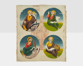 vintage religious painting, folk art painting, primitive religious painting, religious painting,  spiritual painting, christian painting
