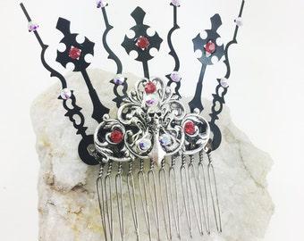 Steampunk hair comb - gothic hair comb - hair combs - steampunk hair accessories - gothic style comb