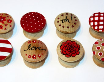 """Ecclectic – Wood Furniture Knobs – Small (1"""" Diameter) - Set of 8"""